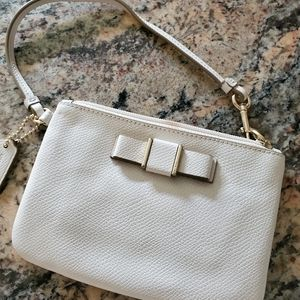 Coach cream Darcy Bow leather wristlet